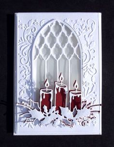"Memory Box Die Stunning ""Glowing Candle Trio"" Cut Emboss or Stencil New Homemade Christmas Cards, Christmas Cards To Make, Xmas Cards, Handmade Christmas, Homemade Cards, Holiday Cards, Christmas Diy, Christmas Candles, Greeting Cards"