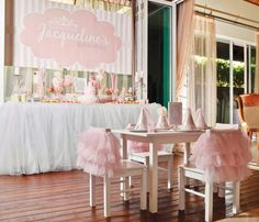 Daddys Little Princess Pink First Birthday Party - Pink tutu chair backs doubling as party favors