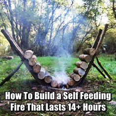 How To Build a Self Feeding Fire That Lasts 14  Hours - This is an efficient way to build a fire that will burn continuously and does not require ANY maintenance. This is also an excellent method to utilize if you need the heat from a fire while you are sleeping, but do not want to wake up repeatedly during the night to add more wood. So clever!