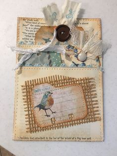 Creative Cafe': Saturday Was Crafting Day! Junk Journal, Journal Paper, Pochette Surprise, Fabric Journals, Craft Day, Handmade Tags, Junk Art, Scrapbook Embellishments, Artist Trading Cards