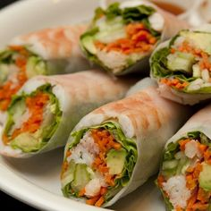 Scrumptious salad rolls with prawns. These are yummy served with soya sauce for dipping.