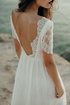 Wedding dress gown half sleeve sleeves lace flower open back loose