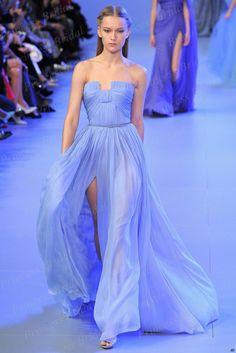 Cheap Simple Design Sheath Strapless Pleat Floor Length Front High Slit Long Red Carpet Gown Chiffon Celebrity Dress MF317