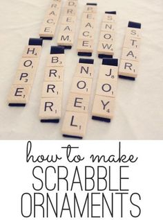 A free step by step tutorial on how to make easy Scrabble ornaments. Can also do these sideways and also make a scrabble board connecting the words the same way Christmas Ornaments To Make, Homemade Christmas, Christmas Projects, Holiday Crafts, Holiday Fun, Christmas Holidays, Christmas Ideas, Christmas Tree, Christmas Games