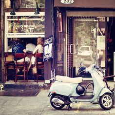 what more could you want = a scooter a cafe and some java