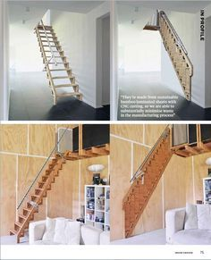 'Bcompact' Hybrid Stairs and Ladders award winning, PATENTED products are the first 2 in a series of designs that create a beautiful and simple solution to small space living or simply … Tiny House Stairs, Loft Stairs, Garage Stairs, Entryway Stairs, Garage Loft, Small Space Living, Small Spaces, Small Space Stairs, Compact Stairs