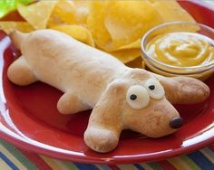 Let the kids help with this fun recipe. It would make a perfect after school snack. sehr lecker , mit knack und back buttermilchbrötchen gemacht Cute Food, Good Food, Yummy Food, Dog Recipes, Snack Recipes, Bread Recipes, Snacks Für Party, Kid Snacks, Food Humor