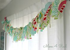 Rag Garland Window Treatment and Cottage Bedroom Reveal at www.mom4real.com