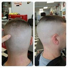 shaved crew cut hairstyle barbershop photo