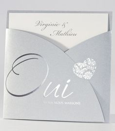 Silver Chic Announcement and Stylized Heart rnrnSource by Creative Wedding Invitations, Pocket Wedding Invitations, Rose Wedding, Dream Wedding, Wedding Greetings, Abstract Embroidery, Invitation Layout, Youre Invited, Perfect Wedding