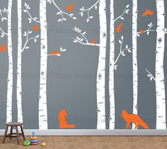 Tree Wall Decals | Seven Birch Trees with Foxes and Flying Birds | Baby Nursery, Children's Room Interior Designs | Easy Application 141