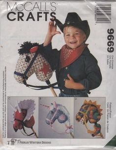 McCalls 9669 Stick Horse Pattern Dinosaur and Unicorn Pattern Peebles Western Designs Craft Toy Sewing Pattern Uncut - Pattern Gate Sewing Toys, Sewing Crafts, Sewing Projects, Dinosaur Pattern, Unicorn Pattern, Dragons, Stick Horses, Horse Pattern, Hobby Horse