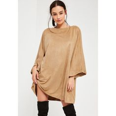 Missguided Nude Faux Suede Oversized Half Sleeve Dress ($45) ❤ liked on Polyvore featuring dresses, beige, elbow length sleeve dress, nude dresses, half sleeve dresses, elbow sleeve dress and beige dress