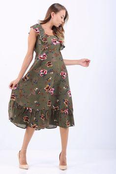 Fırfır Omuz Çiçek Desenli Haki Elbise  #giyim #indirim #kampanya #bayan #erkek #bluz #gömlek #trençkot #hırka #etek #yelek #mont #kaşe #kaban #elbise #abiye #büyükbeden #tunik #tulum #askılı #kapri #şort #pantolon #yenisezon #moda