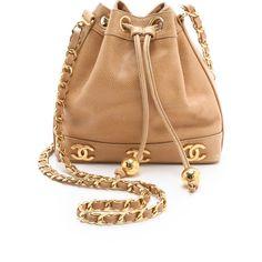 WGACA Vintage Vintage Chanel Caviar Bucket Bag ($2,970) ❤ liked on Polyvore featuring bags, handbags, purses, bolsas, accessories, beige, satchel, leather purses, vintage leather pouch and hand bags