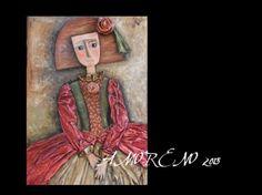 Cuadro Menina, con relieves, pintado al oleo.