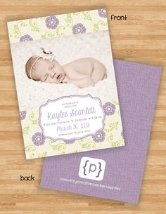 Double Sided Baby Girl Birth Announcement by PembertonPrints