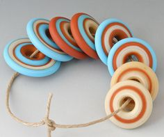 Southwest Discs - (8) Handmade Lampwork Beads - Red Tile, Ivory, Turquoise - Etched, Matte
