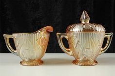 Mouse over image to zoom  Vintage Jeannette Glass Iris Herringbone Marigold Peach Creamer & Covered Sugar