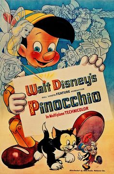 2) Pinocchio (1940) watched 1/28/14 ~The story of a good man's wish and how it came true when a marionette came to life. pinned from {TBT: See All 53 Walt Disney Animation Movie Posters | Oh My Disney}
