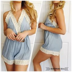 Gorgeous Tie Up Romper w/ Adjustable Straps This romper is Sexy & Sweet! A definite MUST HAVE! Drape with a cardigan & put some booties on! So cute! You will LOVE this piece! Also available in Pink Floral 💙 💐 Xo Bohemian Sea Other