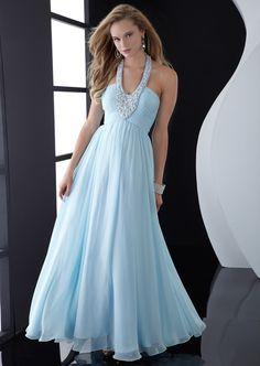 Light Sky Blue A-Line Halter Zipper Beading Pleats Floor Length Chiffon Evening Dress