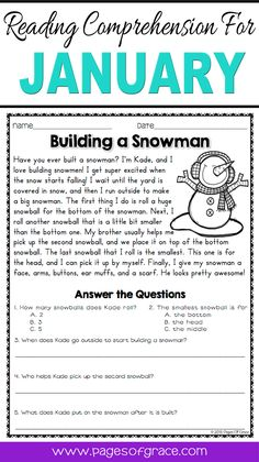 Reading Comprehension Passages and Questions for January 4th Grade Reading Worksheets, Free Reading Comprehension Worksheets, 2nd Grade Reading Comprehension, Fun Stories, Reading Stories, Reading Passages, Punctuation Worksheets, Writing Worksheets, Printable Worksheets