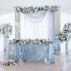 Wedding Insurance For the Most Important Day in Your Life. Blue Wedding Decorations, Quince Decorations, Wedding Themes, Baby Blue Wedding Theme, Pastel Blue Wedding, Blue Wedding Colors, Blue Wedding Centerpieces, Wedding Parties, Wedding Flower Guide