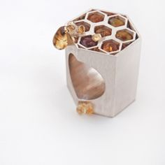 Katie Rowland, bee and honeycomb ring