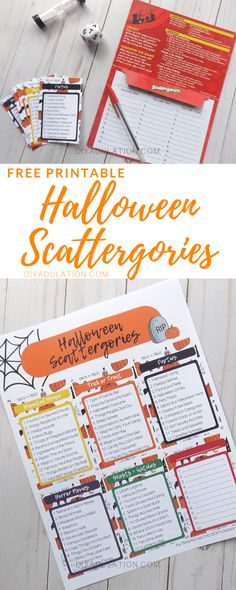 Are you looking for a fun group game to play at your next Halloween party? This free printable Halloween Scattergories game is exactly what you need. games for adults Free Printable Halloween Scattergories Game - DIY Adulation Halloween Party Activities, Halloween Class Party, Family Halloween, Holidays Halloween, Halloween Games For Adults, Party Crafts, Haloween Party, Witch Party, Halloween Season