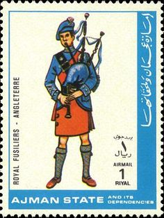 ~ Stamp No. 64: Ajman ~ Scott Catalogue No. 1972 From a set of 19 military uniform stamps. Like several other stamps depicting bagpipes not native to the stamp-issuing country.The pipe only has two drones, and the shorter looks to be a baritone rather than tenor. The chanter, with a pronounced bell at its mouth, has a profile like a continental European pipe rather than one from the Highlands. Hand position is tentative and it looks like this piper is struggling not to puff out his cheeks.