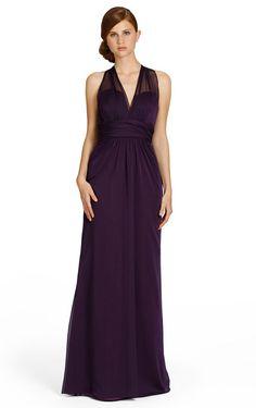 Natural Criss-cross Floor-length V-neck A-line Bridesmaid Dresses