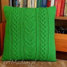 poduszki poduszka zielone sloty, dziergana, poduszka, włóczka, warkocze
