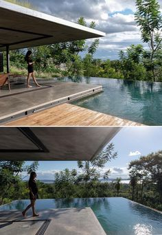 A modern house that has an infinity edge swimming pool that wraps around the corner. Open House Plans, Infinity Edge Pool, Rooftop Patio, Build Your Dream Home, Tall Grasses, Swimming Pools, Architecture Design, Backyard, Outdoor Decor