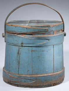 Antique Blue Painted Firkin ~ Sugar Bucket.   LOVE the band joinery.