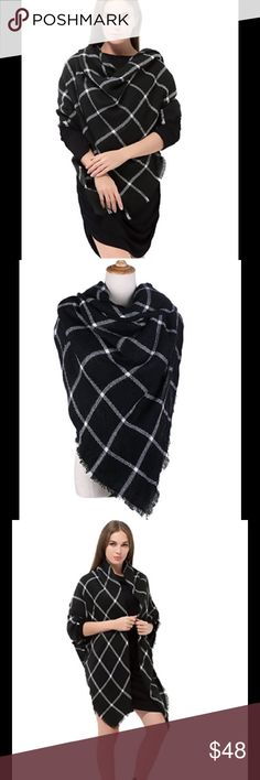 """Plaid Blanket Scarf Square Blanket Scarf.   Soft As Cashmere! Warm As Fleece! measure 55""""*55"""" when laying flat. Made of the cashmere-like acrylic fabric. This blanket scarf is soft and warm. Versatile Oversized Square Scarf - Coiled around your neck or wear as a shawl. Or you can really use it as a blanket. Would be great for traveling. The oversized poncho wrap shawl is the newest trending fashion statement of the fall and winter season. Accessories Scarves & Wraps"""