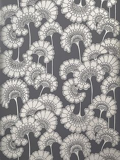 Florence Broadhurst 'Japanese Floral' RF22 wallpaper in Champagne on Slate Grey
