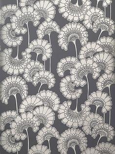 Florence Broadhurst 'Japanese Floral' RF22 wallpaper in Champagne on Slate Grey