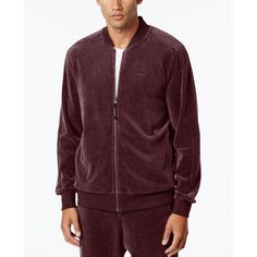 Puma Men's Velour T7 Jacket ($60) ❤ liked on Polyvore featuring men's fashion, men's clothing, men's outerwear, men's jackets, red, mens velour jacket, mens jackets and mens red jacket