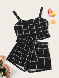 Girls Thick Strap Ruffle Grid Top & Belted Shorts Set - Source by gagokids - Lila Outfits, Cute Lazy Outfits, Crop Top Outfits, Kids Outfits Girls, Teenager Outfits, Pretty Outfits, Stylish Outfits, Girls Fashion Clothes, Teen Fashion Outfits