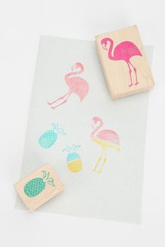Yellow Owl Workshop Flamingo Pineapple Stamp- Set of 2