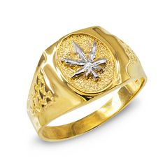 Men's High Polish 10k Yellow Gold 420 Pot Ganja Weed Cannabis Marijuana Leaf Ring (Size 7). fine modern statement jewelry depicting the medicinal herb plant symbol with a nugget style band design. masterfully handcrafted with 10 karat yellow gold in stunning polished finish. comes with free special gift packaging. made in the USA yet offered at factory direct jewelry price. ships directly from the manufacturer to the customers.
