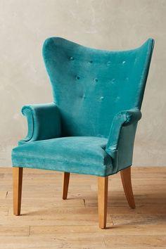 Teal Velvet Wingback Chair