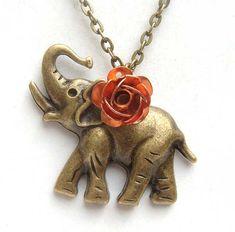 Antiqued Brass Elephant Rose Necklace.