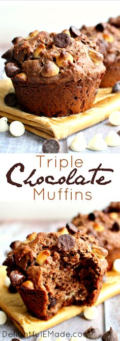 Moist, delicious muffins loaded with chocolate! The perfect treat for when you want chocolate for breakfast!