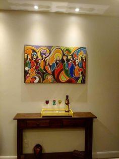 Pintura A Mão Santa Ceia 60x100 Cod 943