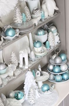 Bright and Shiny Christmas Hutch. put xmas house on cake stand