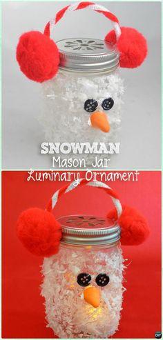 DIY Mason Jar Snowman Luminary Lights Instruction -DIY Christmas Mason Jar Lighting Craft Ideas