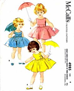 1950s McCall's 4985 Pattern Girls Back Buttoned Dress Sleeveless Two Gore Gathered Skirt Childrens Vintage Sewing Pattern Size 4 UNCUT. $24.99, via Etsy.