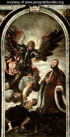Archangel Michael vanqishing Lucifer in the presence of a Venetian senator - Jacopo Tintoretto (Robusti) - www.jacopotintoretto.org